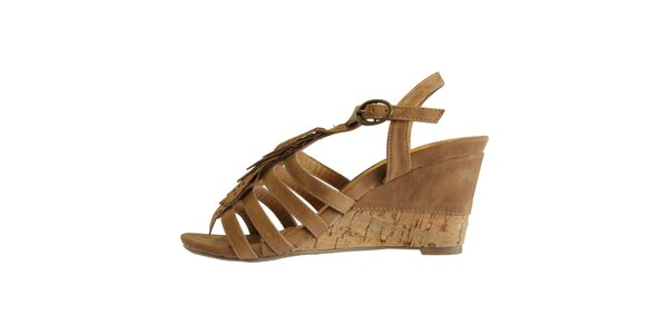 Dámske karamelové sandále s ofinkovým ornamentom Vanelli