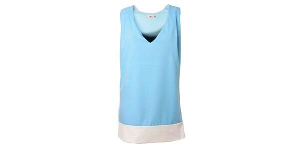 Dámske bledo modré šaty Kzell s bielym lemom