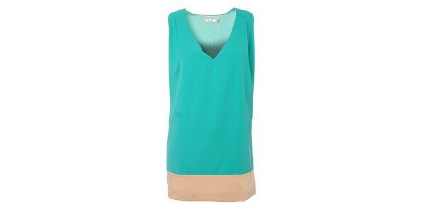 Dámske tyrkysové šaty Kzell s béžovým lemom