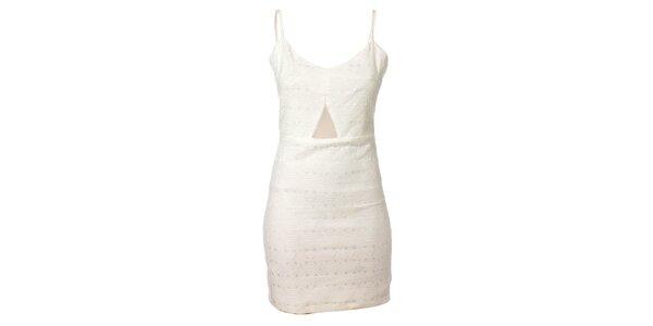 Dámske biele púzdrové šaty Kzell