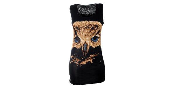 Dámske čierne minišaty Kzell so sovou