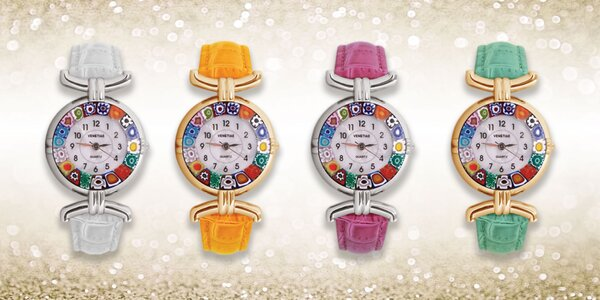 Krásne dizajnové hodinky z muranského skla