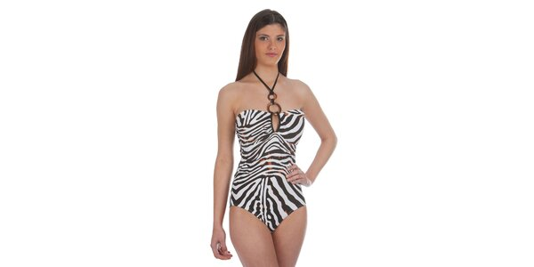 Dámske jednodielne plavky so zebrím vzorom Cristian Lay