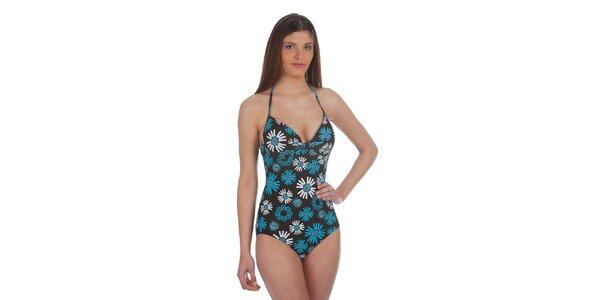 Dámske čierno-modré jednodielne plavky s potlačou Cristian Lay
