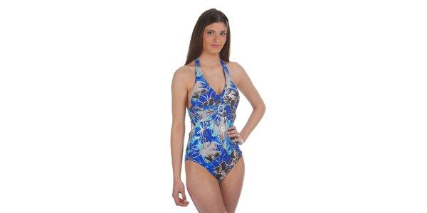 Dámske šedo-modré jednodielne plavky Cristian Lay s ozdobnou sponou