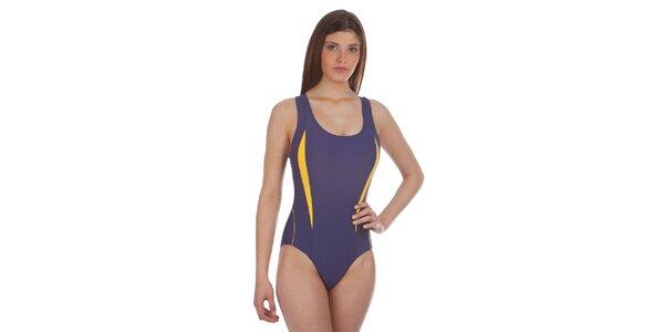 Dámske fialovo-žlté jednodielne plavky Cristian Lay