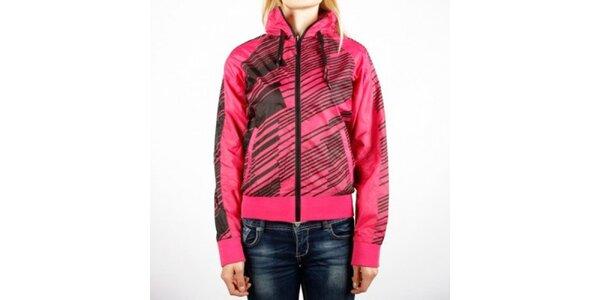 Dámska ružová športová bunda Authority s čiernou potlačou