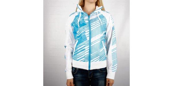 Dámska biela športová bunda Authority s modrou potlačou