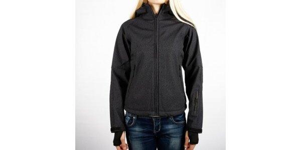 Dámska čierna melírovaná softshellová bunda Authority s kapucňou