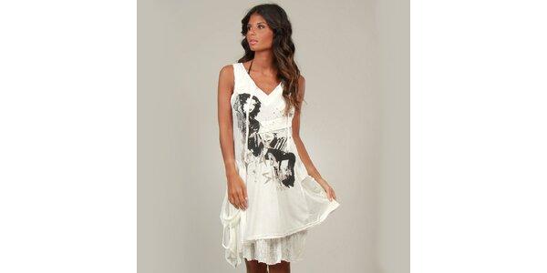 Dámske biele šaty La Belle Francaise s čipkou a potlačou
