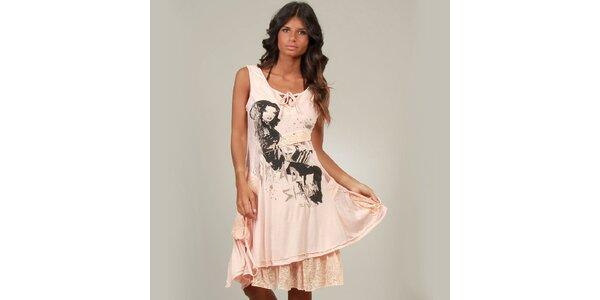 Dámske lososové šaty La Belle Francaise s čipkou a potlačou
