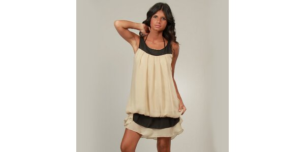 Dámske béžové šaty La Belle Francaise s volánikom