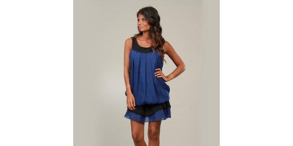 Dámske modré šaty La Belle Francaise s volánikom