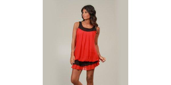 Dámske červené šaty La Belle Francaise s volánikom