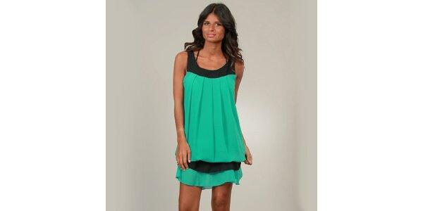 Dámske zelené šaty La Belle Francaise s volánikom