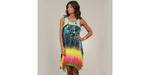 Dámske pestrofarebné šaty s tyrkysovým vrškom a korálkami La Belle Francaise