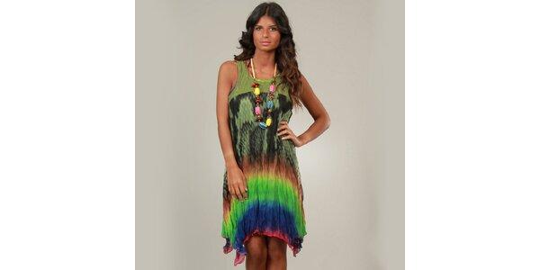 Dámske pestrofarebné šaty s khaki vrškom a korálkami La Belle Francaise