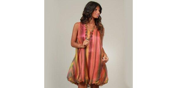 Dámske korálovo-oranžové balónové šaty La Belle Francaise