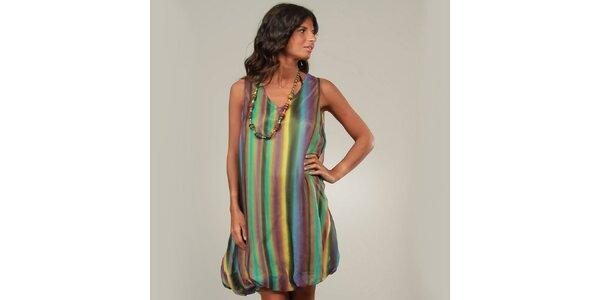 Dámske zeleno-fialové balónové šaty La Belle Francaise