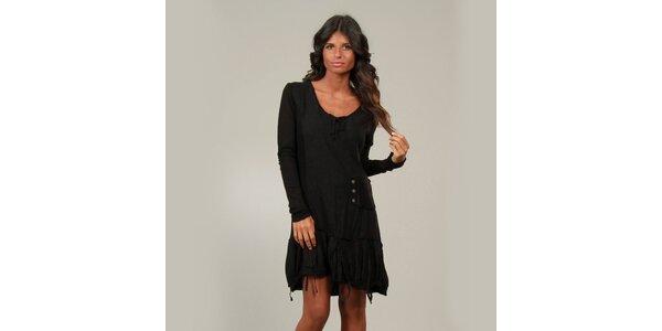 Dámske čierne šaty La Belle Francaise so strapcami