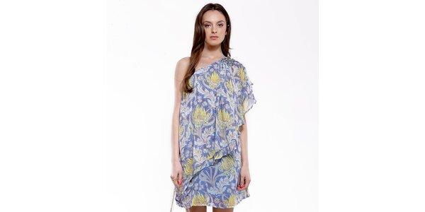 Dámske modro-žlté šaty na jedno rameno Almatrichi