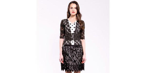 Dámske čierno-biele spoločenské šaty s krajkou a bodkami Almatrichi
