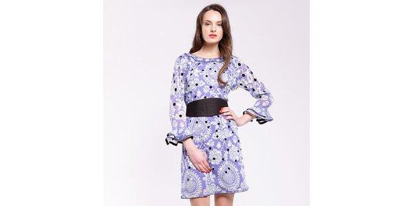Dámske fialovo-biele šaty s čiernymi detailami Almatrichi