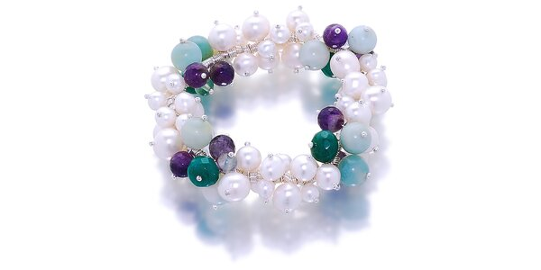 Dámsky náramok s bielymi perlami, amazonitom a nefritmi Orchira