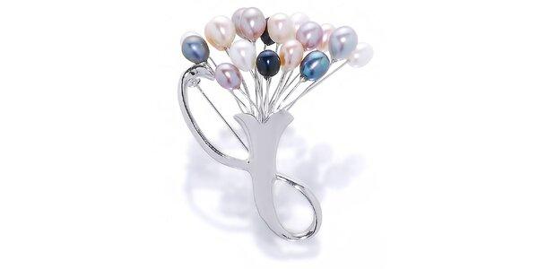 Dámska brošňa Orchira s farebnými perlami