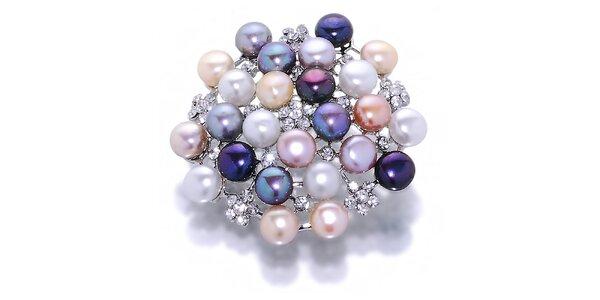 Dámska farebná perlová brošňa Orchira