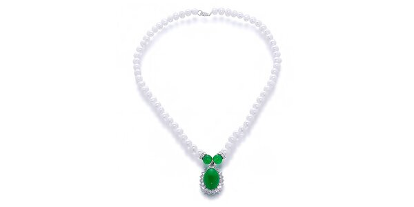 Dámsky perlový náhrdelník so zeleným malajským nefritom Orchira