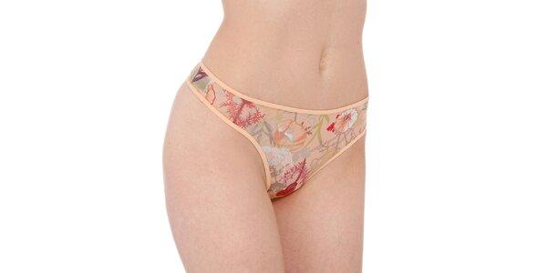 Dámske marhuľové tanga nohavičky Marlies Dekkers s potlačou divokej lúky