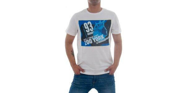 Pánske biele tričko Zoo York s modrou potlačou