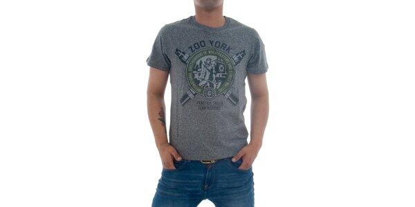 Pánske šedivé tričko Zoo York s potlačou
