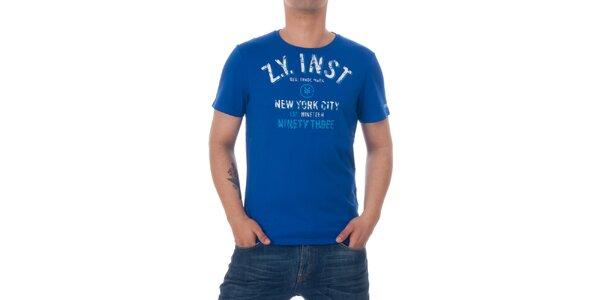 Pánske modré tričko Zoo York s bielou potlačou