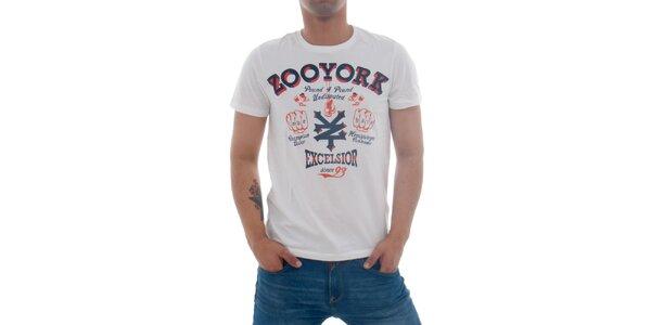 Pánske biele tričko Zoo York s potlačou