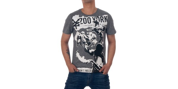 Pánske šedivé tričko Zoo York s čierno-bielou kolážou