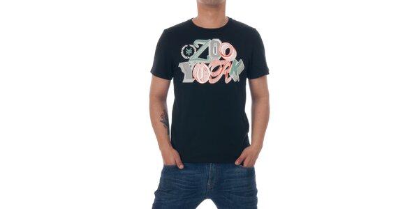Pánske čierne tričko Zoo York s farebným logom