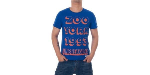 Pánske modré tričko Zoo York s oranžovou potlačou