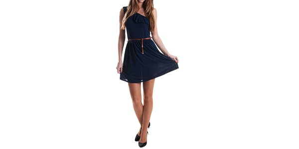Dámske tmavo modré šaty s opaskom Stradivarius