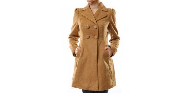 Dámsky svetlo hnedý kabát Stradivarius