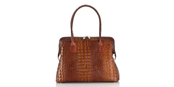 Dámska koňakove hnedá kožená kabelka Ore 10 s krokodílim vzorom