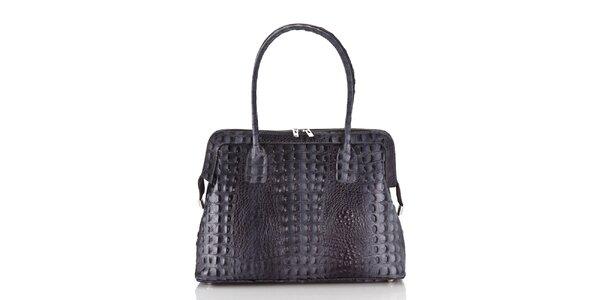 Dámska ocelove šedá kožená kabelka Ore 10 s krokodílim vzorom