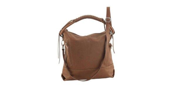 Dámska koňakovo hnedá kožená kabelka Ore 10