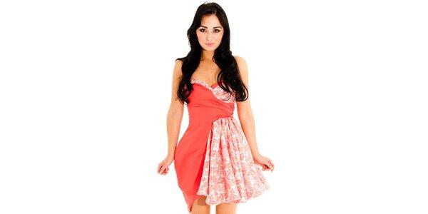 Dámske korálové šaty Jolaby s potlačou
