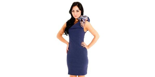 Dámske tmavo modré púzdrové šaty Jolaby s veľkou mašľou