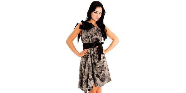 Dámske čierno-šedé spoločenské šaty Jolaby s veľkou mašľou