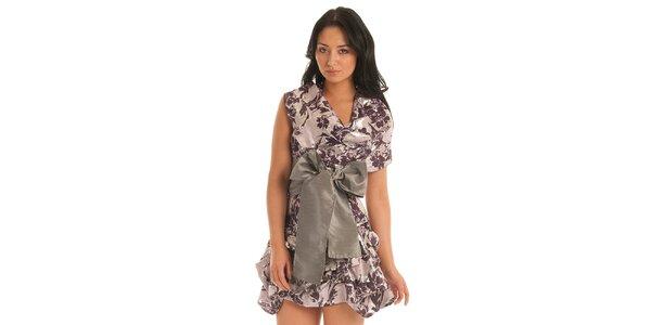 Dámske fialové šaty Jolaby s veľkou striebornou mašľou