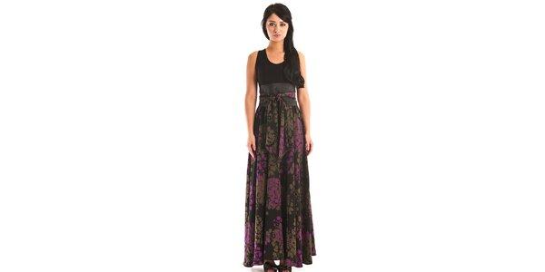 Dámske dlhé čierne šaty Jolaby s hnedo-fialovým vzorom