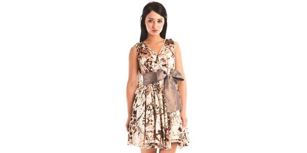 Dámske béžové šaty Jolaby so zvieracím vzorom